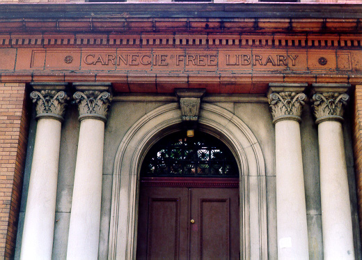 Entrance to the Andrew Carnegie Free  Library, Carnegie, Pa.